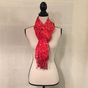Lucky Brand red floral geometric viscose scarf